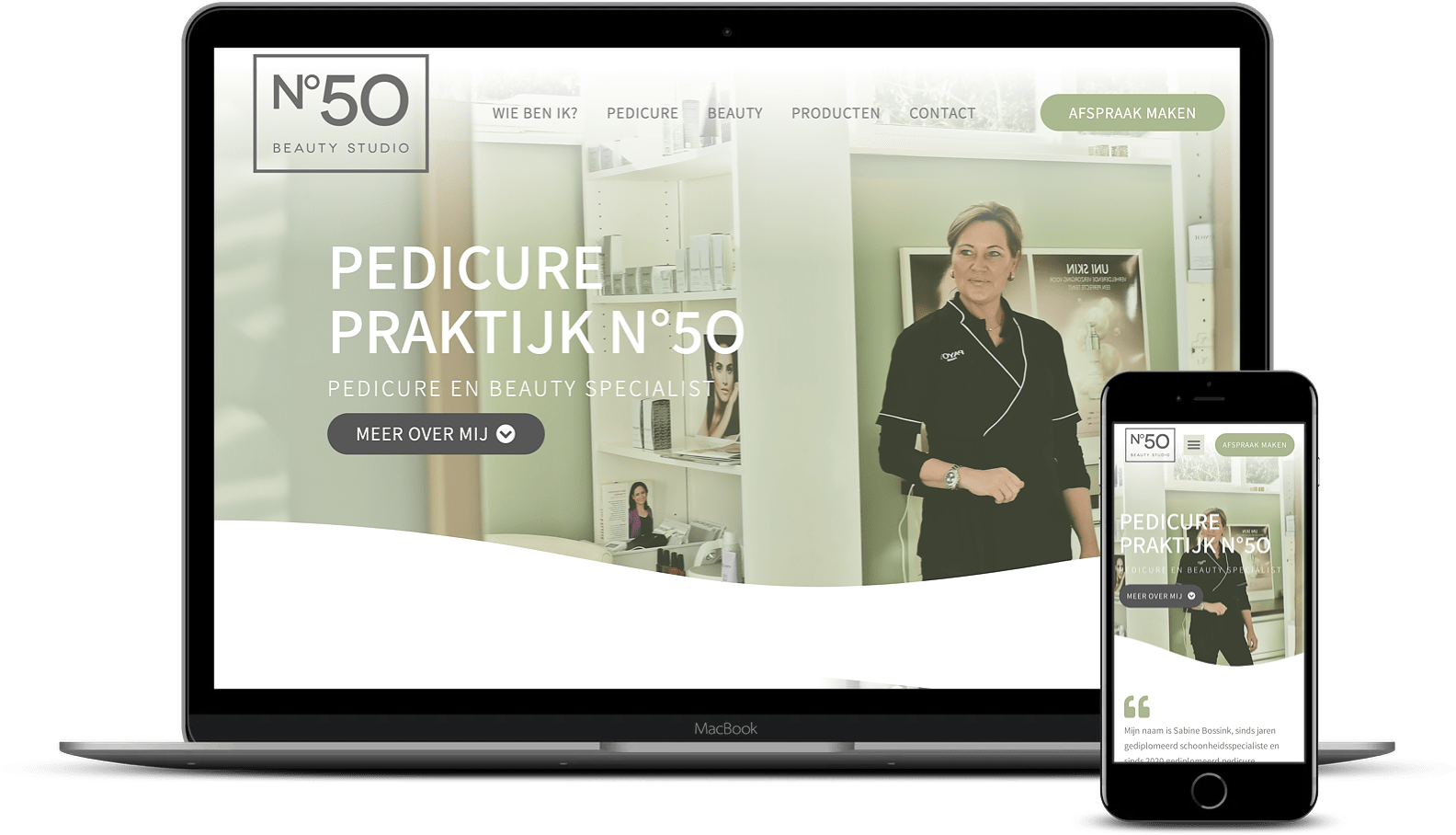 website Pedicure Praktijk N°50 - Beauty Studio
